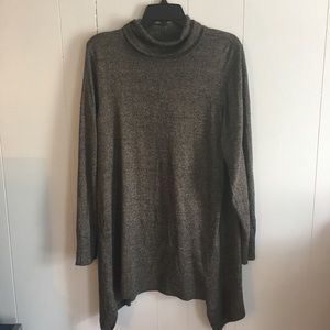Tunic length sharkbite hem sweater